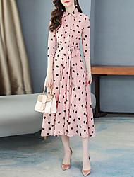 cheap -Women's Maxi Blushing Pink White Dress Elegant Sophisticated Date Vacation Swing Geometric Shirt Collar Pleated Print M L