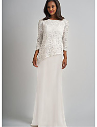 cheap -Sheath / Column Mother of the Bride Dress Elegant & Luxurious Bateau Neck Floor Length Chiffon Lace 3/4 Length Sleeve with Lace 2021