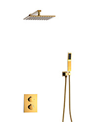 cheap -Shower Faucet Set - Ceiling Shower with Handshower Included Contemporary Other Ceramic Valve Bath Shower Mixer Taps Brass