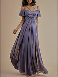 cheap -A-Line Spaghetti Strap Floor Length Chiffon Bridesmaid Dress with Crystals / Split Front / Ruching / Open Back