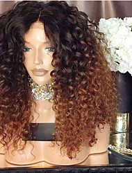cheap -Synthetic Wig Afro Curly Asymmetrical Wig Medium Length Ombre Brown Synthetic Hair 16 inch Women's Best Quality Brown