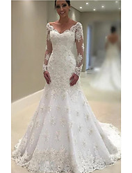cheap -A-Line Wedding Dresses V Neck Court Train Lace Tulle Charmeuse Long Sleeve Formal Plus Size Illusion Sleeve with Lace Insert Appliques 2020