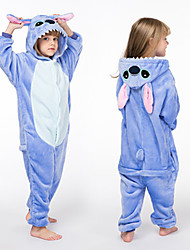 cheap -Kid's Kigurumi Pajamas Blue Monster Onesie Pajamas Polar Fleece Blue Cosplay For Boys and Girls Animal Sleepwear Cartoon Festival / Holiday Costumes