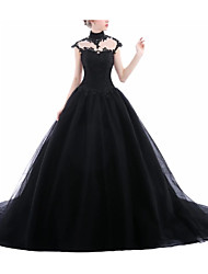 cheap -A-Line Jewel Neck Sweep / Brush Train Lace / Tulle Short Sleeve Formal Black / Modern Wedding Dresses with Draping / Lace Insert 2020