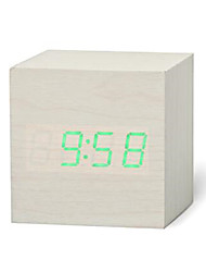 cheap -New Qualified Digital Wooden LED Alarm Clock Wood Retro Glow Clock Desktop Table Decor Voice Control Snooze Function Desk Tools