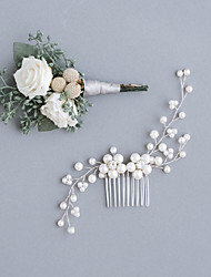 cheap -Imitation Pearl / Rhinestone / Alloy Hair Combs with Imitation Pearl / Sparkling Glitter / Floral 1pc Wedding Headpiece