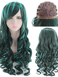 cheap -Synthetic Wig Curly kinky Straight Asymmetrical Wig Long Rainbow Synthetic Hair 27 inch Women's Best Quality Ombre Mixed Color