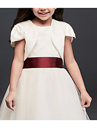 cheap -Short Sleeve Satin Wedding Kids' Wraps With Ruching Shrugs
