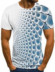 Недорогие -Муж. 3D Графика Футболка Классический Повседневные Круглый вырез Синий / Лиловый / Серый / Светло-синий / С короткими рукавами