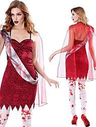 abordables -Zombie Mariée fantomatique Robe Costume de Cosplay Adulte Femme Cosplay Halloween Halloween Fête / Célébration Polyester Rouge Femme Déguisement Carnaval