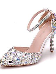 cheap -Women's Wedding Shoes Crystal Sandals Stiletto Heel Pointed Toe Rhinestone / Crystal / Sparkling Glitter PU Vintage / Minimalism Spring &  Fall / Spring & Summer Gold / Blue / Silver