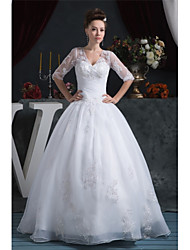 cheap -Ball Gown V Neck Floor Length Organza / Satin Half Sleeve Plus Size Made-To-Measure Wedding Dresses with Beading / Appliques / Ruched 2020 / Bell Sleeve