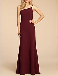 cheap -Sheath / Column Spaghetti Strap Floor Length Satin Bridesmaid Dress with Ruching
