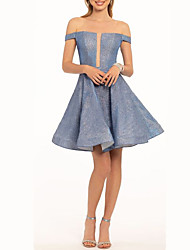 cheap -A-Line Off Shoulder Short / Mini Polyester Open Back Cocktail Party / Party Wear Dress with Pleats 2020