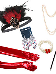 cheap -Outfits The Great Gatsby Elastic Freshwater Pearl For The Great Gatsby Cosplay Halloween Carnival Women's Women Costume Jewelry Fashion Jewelry / Gloves / Gloves / Earrings / Necklace / Bracelets