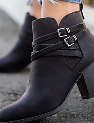 cheap -Women's Boots Chunky Heel Round Toe PU Booties / Ankle Boots Winter Black / Brown / Beige