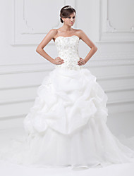 cheap -Ball Gown Wedding Dresses Sweetheart Neckline Chapel Train Organza Satin Strapless with Pick Up Skirt Beading Embroidery 2020