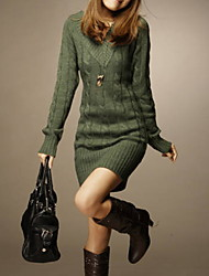 cheap -Women's Mini Green Beige Dress Sweater Solid Colored V Neck One-Size