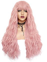 cheap -Synthetic Wig Curly Weave Neat Bang Wig Pink Long Black#1B Brown Pink White Blue / Green / Blonde Synthetic Hair 24inch Women's Odor Free Adjustable Heat Resistant Black Blue White / Natural Hairline