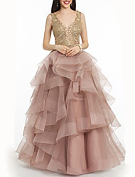 cheap -A-Line Open Back Prom Formal Evening Dress Plunging Neck Sleeveless Floor Length Organza with Sequin Embroidery Cascading Ruffles 2020