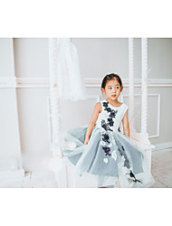cheap -Ball Gown Tea Length Flower Girl Dress - Lace / Tulle Sleeveless Jewel Neck with Appliques / Pearls