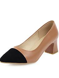 cheap -Women's Heels Chunky Heel Pointed Toe Suede Casual / Minimalism Spring & Summer Black / Dark Brown / Color Block