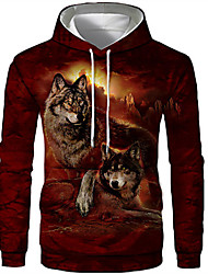 cheap -Men's Plus Size Hoodie Wolf 3D Print Hooded Sports - Long Sleeve Loose Red S M L XL XXL XXXL XXXXL XXXXXL XXXXXXL / Fall / Winter