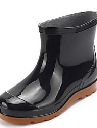 Недорогие -Муж. Резиновые сапоги Кожа Наступила зима Ботинки Сапоги до середины икры Черный