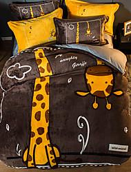 cheap -Funny Giraffe Cartoon Flannel Duvet Cover Set Queen Bedding Cover Set Boys Girls Duvet Comforter Cover Set Luxury Soft Queen Duvet Cover Set