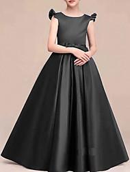 cheap -A-Line Round Neck Floor Length Satin Junior Bridesmaid Dress with Bow(s) / Ruffles