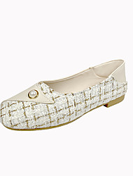 cheap -Women's Loafers & Slip-Ons Low Heel Square Toe Imitation Pearl Synthetics Casual Spring & Summer Black / Ivory