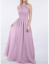 cheap -Sheath / Column Jewel Neck Floor Length Chiffon Bridesmaid Dress with Ruching