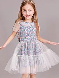 cheap -Toddler Girls' Geometric Short Sleeve Above Knee Dress White
