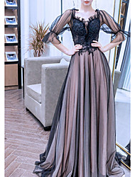 cheap -A-Line V Neck Sweep / Brush Train Lace / Tulle Half Sleeve Formal Black / Modern / Illusion Sleeve Wedding Dresses with Lace Insert / Appliques 2020