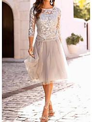 cheap -Women's Cocktail Party Elegant A Line Dress - Solid Colored Lace Lace Beige M L XL XXL / Slim