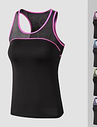cheap -Women's Yoga Top Patchwork Fashion Purple Fuchsia Black / Green Black / Blue Mesh Running Fitness Gym Workout Vest / Gilet Sleeveless Sport Activewear Lightweight Quick Dry Comfortable Stretchy