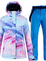 cheap -ARCTIC QUEEN Women's Ski Jacket with Pants Skiing Camping / Hiking Winter Sports Waterproof Windproof Warm Polyester Jacket Pants / Trousers Clothing Suit Ski Wear