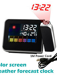 cheap -LED Digital Projection Alarm Clock Temperature Thermometer Desk Time Date Display Projector Calendar USB Charger Table Led Clock