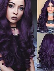 cheap -Synthetic Wig Body Wave Asymmetrical Wig Long Dark Purple Synthetic Hair 27 inch Women's Middle Part Purple