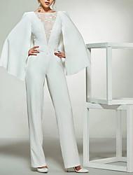 cheap -Jumpsuits Wedding Dresses Bateau Neck Floor Length Lace Satin Long Sleeve Romantic Plus Size Modern with Lace Insert 2020