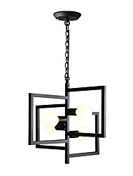 cheap -4-Light Geometrical Chandelier Ambient Light Painted Finishes Black Metal New Design 110-120V / 220-240V