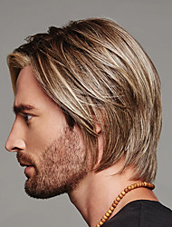 cheap -Synthetic Wig Toupees kinky Straight Asymmetrical Wig Blonde Short Blonde Synthetic Hair 11 inch Men's Best Quality Blonde