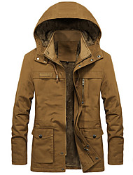 cheap -Men's Daily Fall & Winter Long Jacket, Solid Colored Hooded Long Sleeve Polyester Black / Army Green / Yellow