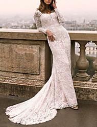 cheap -Sheath / Column V Neck Sweep / Brush Train Lace / Tulle Long Sleeve Boho Plus Size / Illusion Sleeve Wedding Dresses with 2020