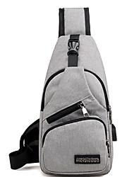 cheap -Men's Zipper Canvas Sling Shoulder Bag Solid Color Gray