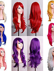 cheap -Synthetic Wig Body Wave Asymmetrical Wig Long Light Blonde Watermelon Red Brown Pink Green Synthetic Hair 27 inch Women's Red Brown