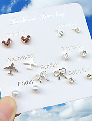 cheap -Women's Stud Earrings Earrings Earrings Set Round Cut Airplane Heart Bowknot Simple Korean Sweet Fashion Imitation Diamond Earrings Jewelry Silver For Graduation Stage Street Holiday Work