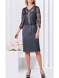 cheap -Two Piece Mother of the Bride Dress Plus Size Sweetheart Neckline Knee Length Lace Charmeuse 3/4 Length Sleeve with Lace Appliques 2021