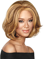 cheap -Synthetic Wig Loose Curl Asymmetrical Wig Short Blonde Synthetic Hair 10 inch Women's Best Quality Blonde