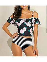 cheap -Women's Basic Black Halter Boy Leg Tankini Swimwear Swimsuit - Striped Floral Backless Ruffle Print L XL XXL Black